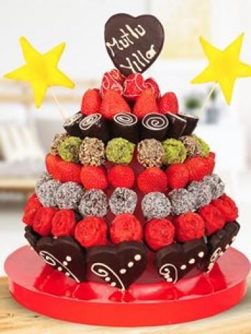 Star Doğum Günü Pastası Meyve Sepeti ve Çikolatalar çiçek gönder