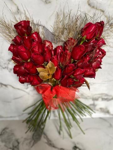 Kalp Şeklinde Lüks Kırmızı Gül Buketi Buketler çiçek gönder