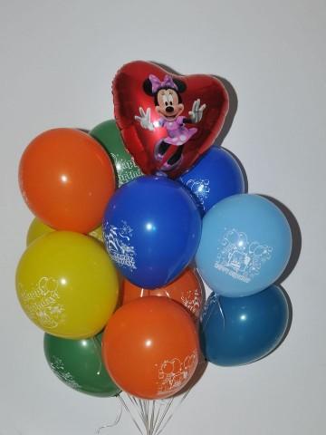 Micky'li Happy Birthday Uçan Balon Buketi Balonlar çiçek gönder