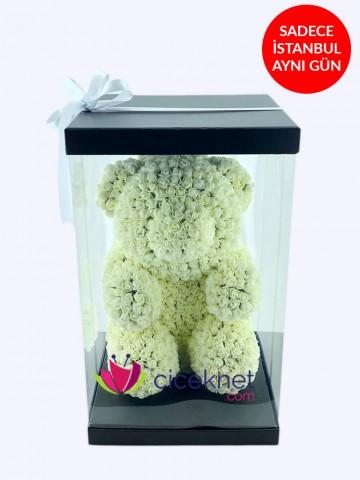 Teddy Love (Beyaz) Ömürlük Bir Hediye Kutuda Çiçek çiçek gönder