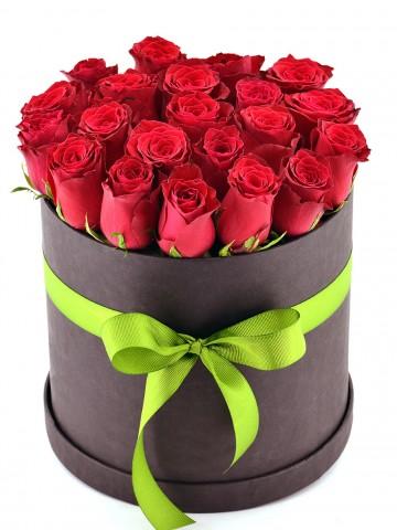 Siyah  Kutuda 21 Adet Kırmızı Gül  Kutuda Çiçek çiçek gönder