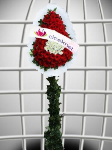 Beyaz ve Kırmızı Gerberalı Ayaklı Sepet Düğün Çelenkleri çiçek gönder