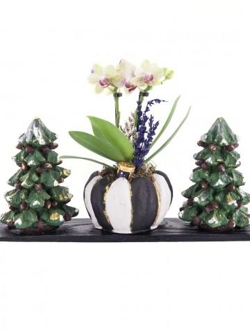Trio Toile De Jouy Noel Tasarım Sarı Orkide Orkideler çiçek gönder