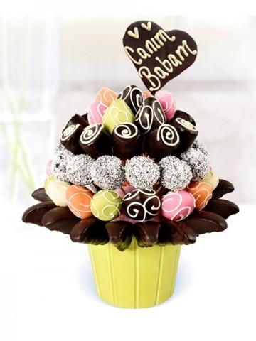 Canım Babam Meyve Mix Meyve Sepeti ve Çikolatalar çiçek gönder