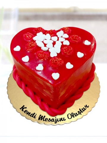 Güller ve Kalpler Pastası Meyve Sepeti ve Çikolatalar çiçek gönder