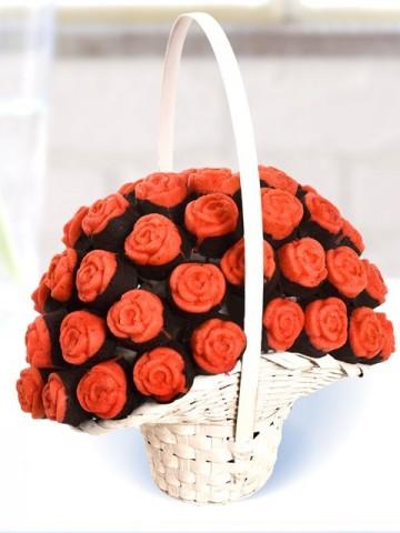 Gül Kek Sepeti Meyve Sepeti ve Çikolatalar çiçek gönder