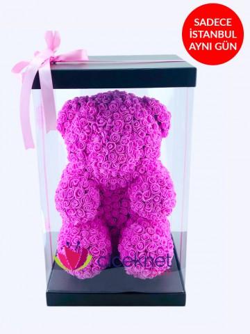 Teddy Love (Pembe) Ömürlük Bir Hediye Kutuda Çiçek çiçek gönder