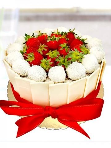 Hediye Topu Pasta Meyve Sepeti ve Çikolatalar çiçek gönder