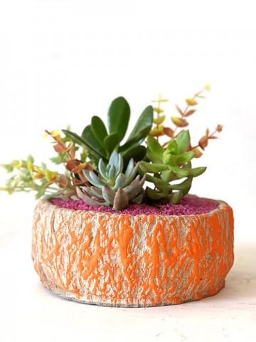 Özel Tasarım Saksıda Yapay Çiçekli Teraryum Terarium çiçek gönder