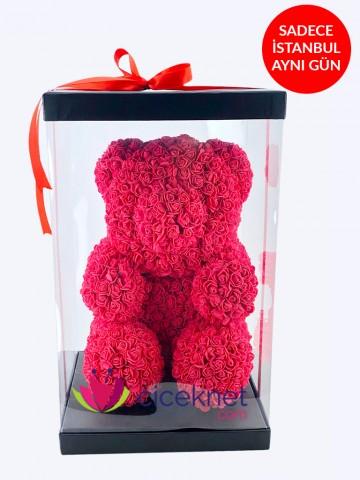 Teddy Love (Kırmızı)  Ömürlük Bir Hediye Kutuda Çiçek çiçek gönder