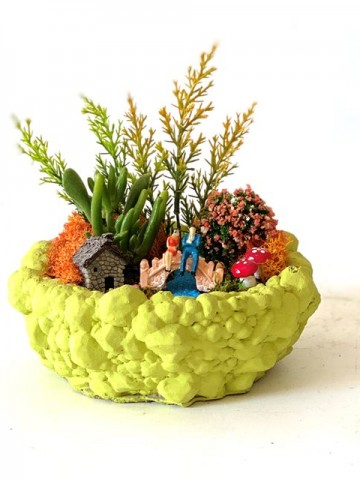 Beton Saksıda Sukulentler Terarium çiçek gönder