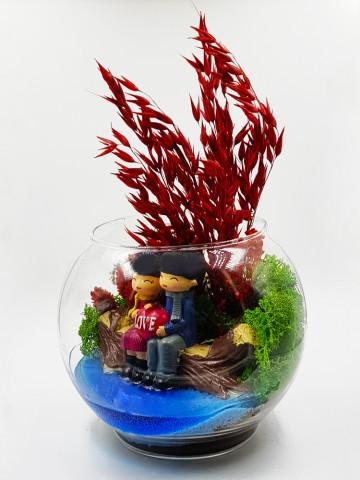 Mutlu Aşk (Yapay) Terarium çiçek gönder