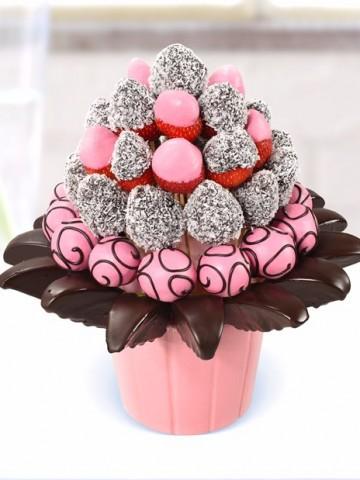 Pink Lovers Meyve Sepeti ve Çikolatalar çiçek gönder