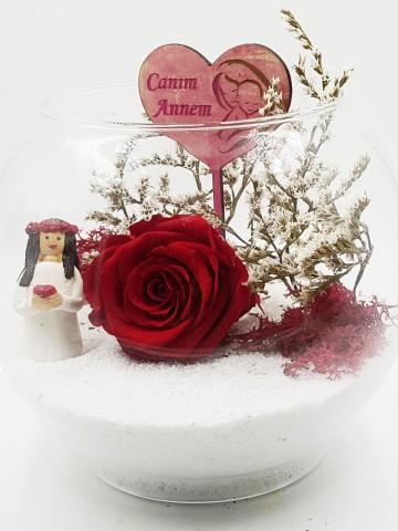Canım Annem Solmayan Gül (Yapay) Terarium çiçek gönder