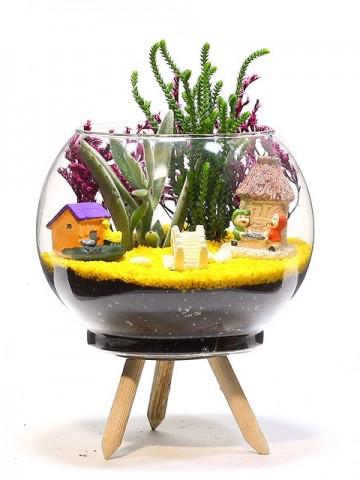 Ayaklı Saksıda Teraryum Terarium çiçek gönder