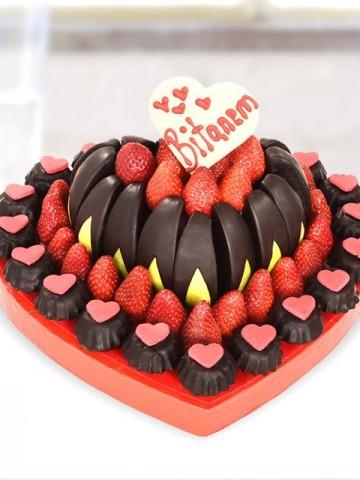 Love Heart Meyve Sepeti Meyve Sepeti ve Çikolatalar çiçek gönder