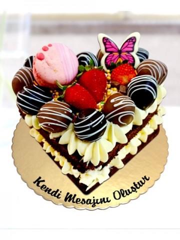 Mini Kalp Naked Pasta Meyve Sepeti ve Çikolatalar çiçek gönder