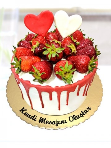 Çilek Aşıkları Pastası Meyve Sepeti ve Çikolatalar çiçek gönder
