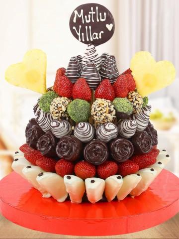 Happy Birthday Doğum Günü Hediyesi Meyve Sepeti ve Çikolatalar çiçek gönder