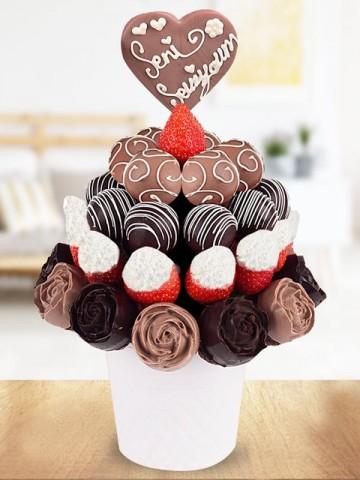 Chocolate Love Meyve Sepeti Meyve Sepeti ve Çikolatalar çiçek gönder