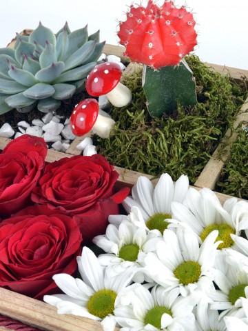 Huzur Bahçesi Ahşap Kutuda Teraryum Terarium çiçek gönder