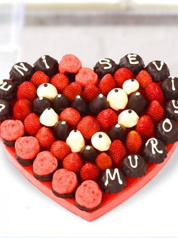 Sevgi Meyve Çiçeği Meyve Sepeti ve Çikolatalar çiçek gönder