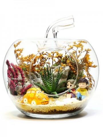 Yapay Bitkili Teraryum  Terarium çiçek gönder