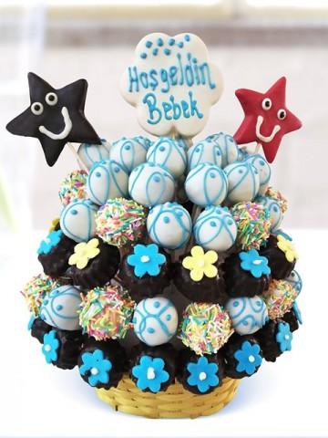 Mavi Bebek Sepeti Meyve Sepeti ve Çikolatalar çiçek gönder