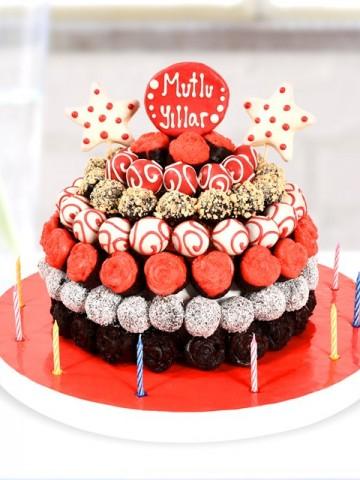 Doğum Günü Pastası Meyve Sepeti ve Çikolatalar çiçek gönder