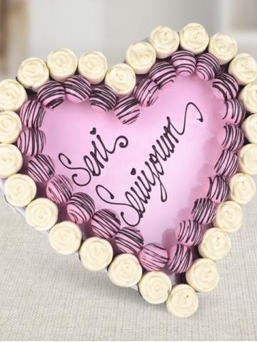 Pembe Kalp Buketi Meyve Sepeti ve Çikolatalar çiçek gönder