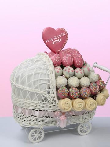 Hoşgeldin Bebek Arabalı Kız Çocuğu Meyve Sepeti Meyve Sepeti ve Çikolatalar çiçek gönder