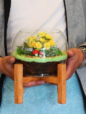 Ahşap Ayaklı Teraryum Kalanchoe Sarı Saksı Çiçekleri çiçek gönder
