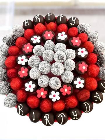 Happy Birthday Meyve Sepeti ve Çikolatalar çiçek gönder