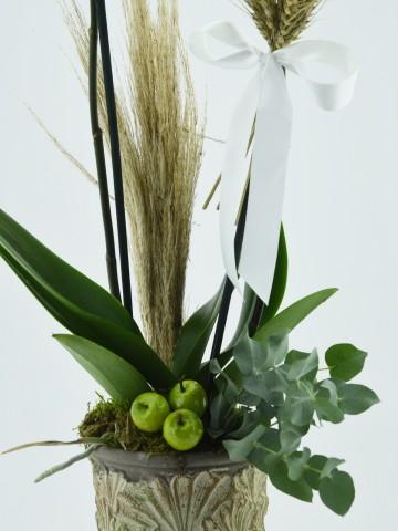 Özel Kadeh Vazoda İkili Beyaz Orkide Orkideler çiçek gönder