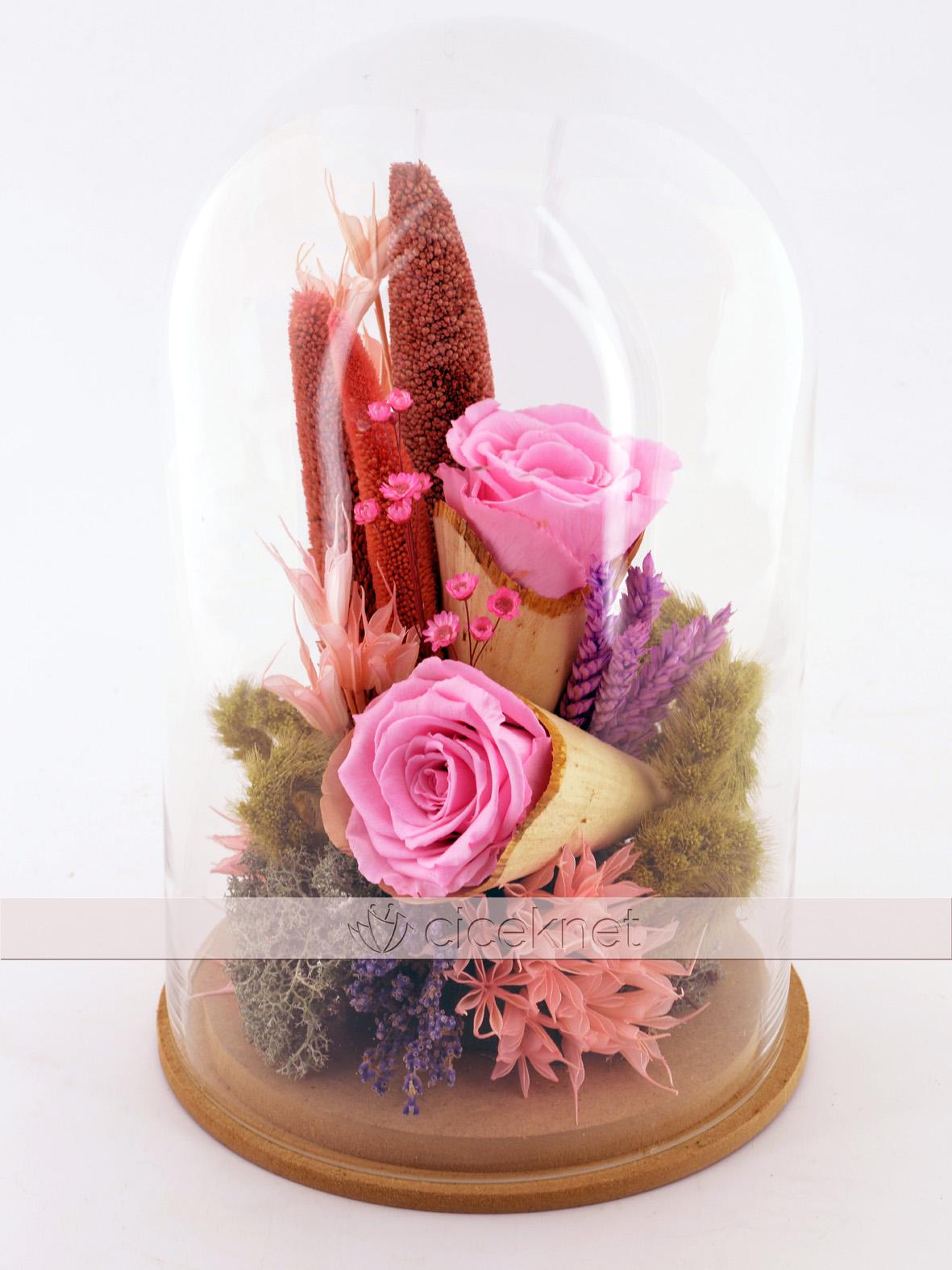 Kapaklı Cam Fanusta Pembe Solmayan Güller  çiçek gönder