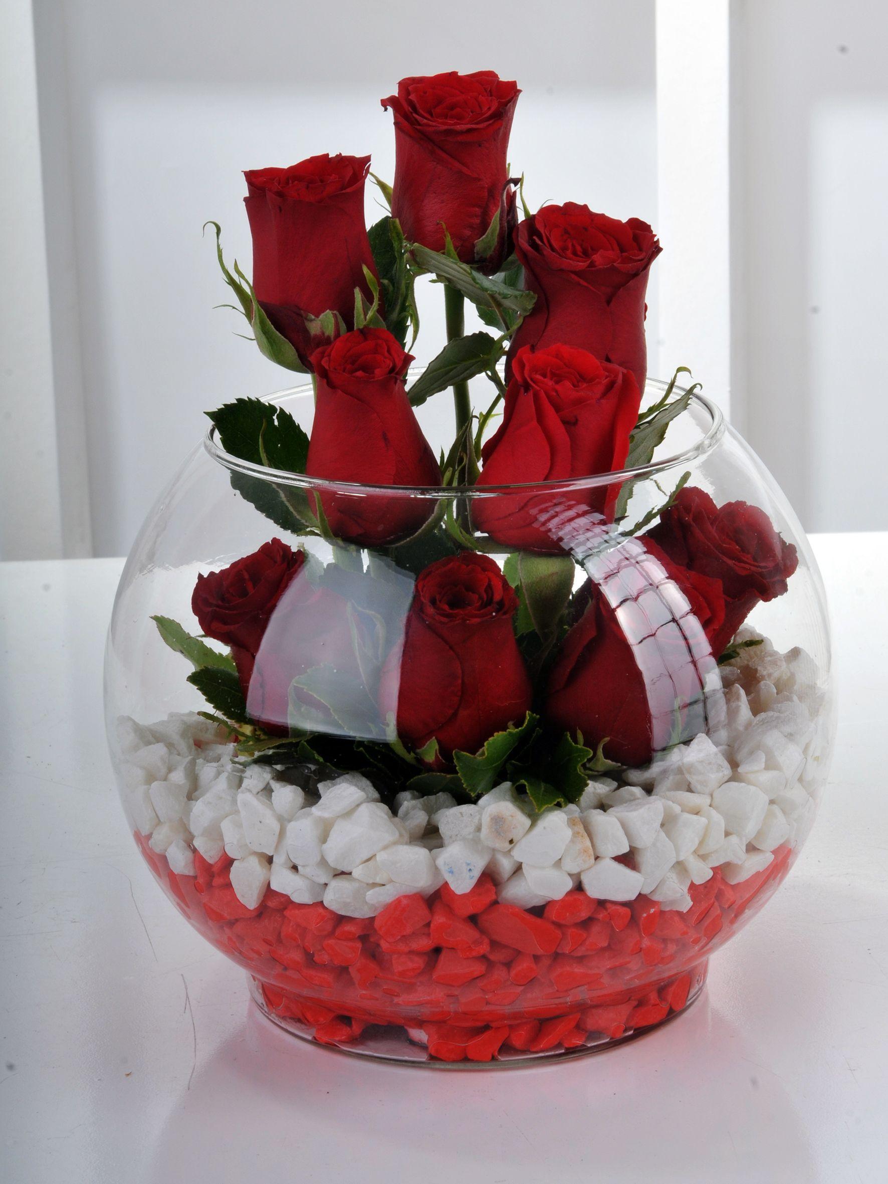 Fanus ta  9 Kırmızı Gül. Aranjmanlar çiçek gönder