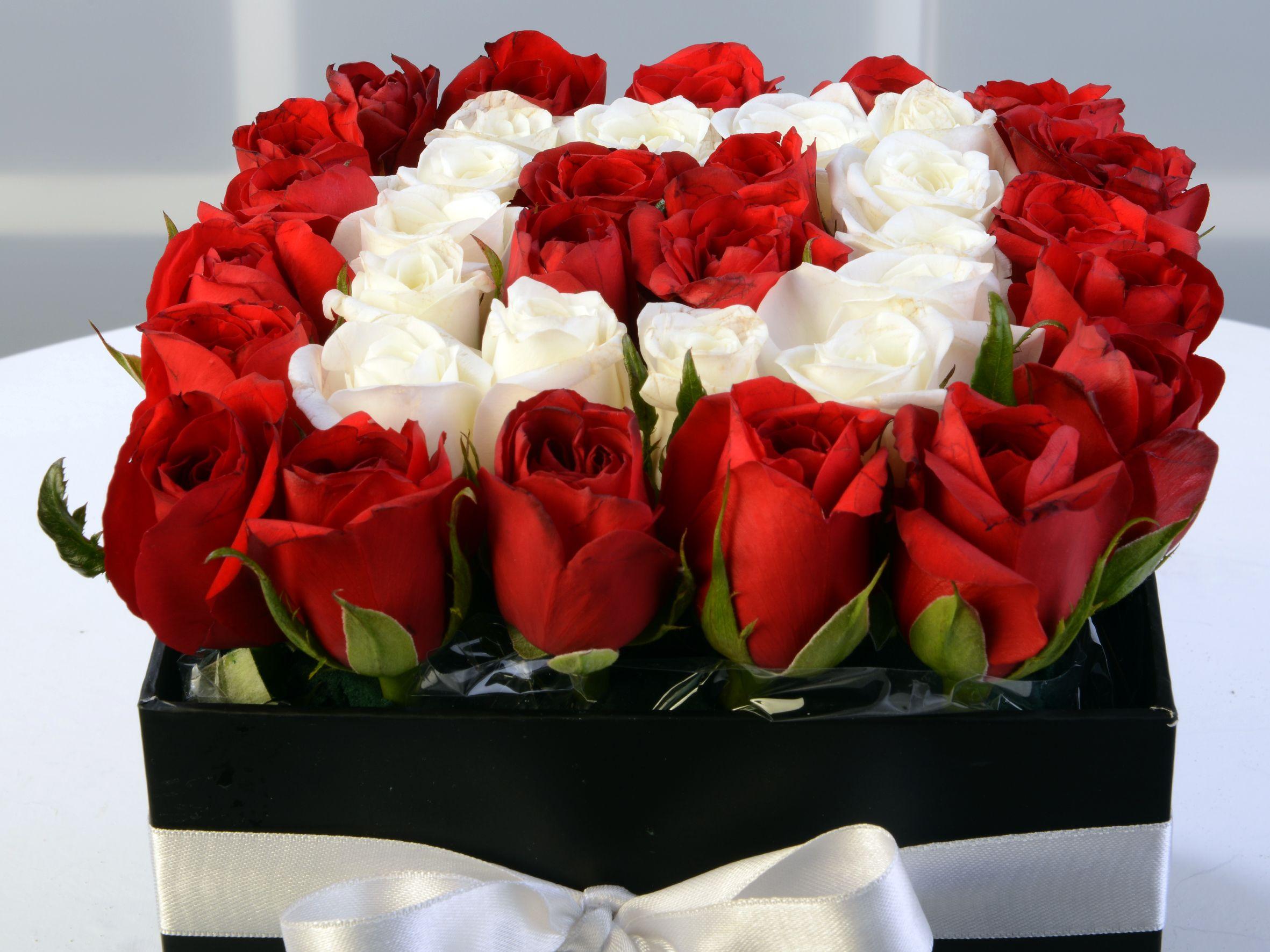 Kare Kapaklı Kutuda Güller. Kutuda Çiçek çiçek gönder