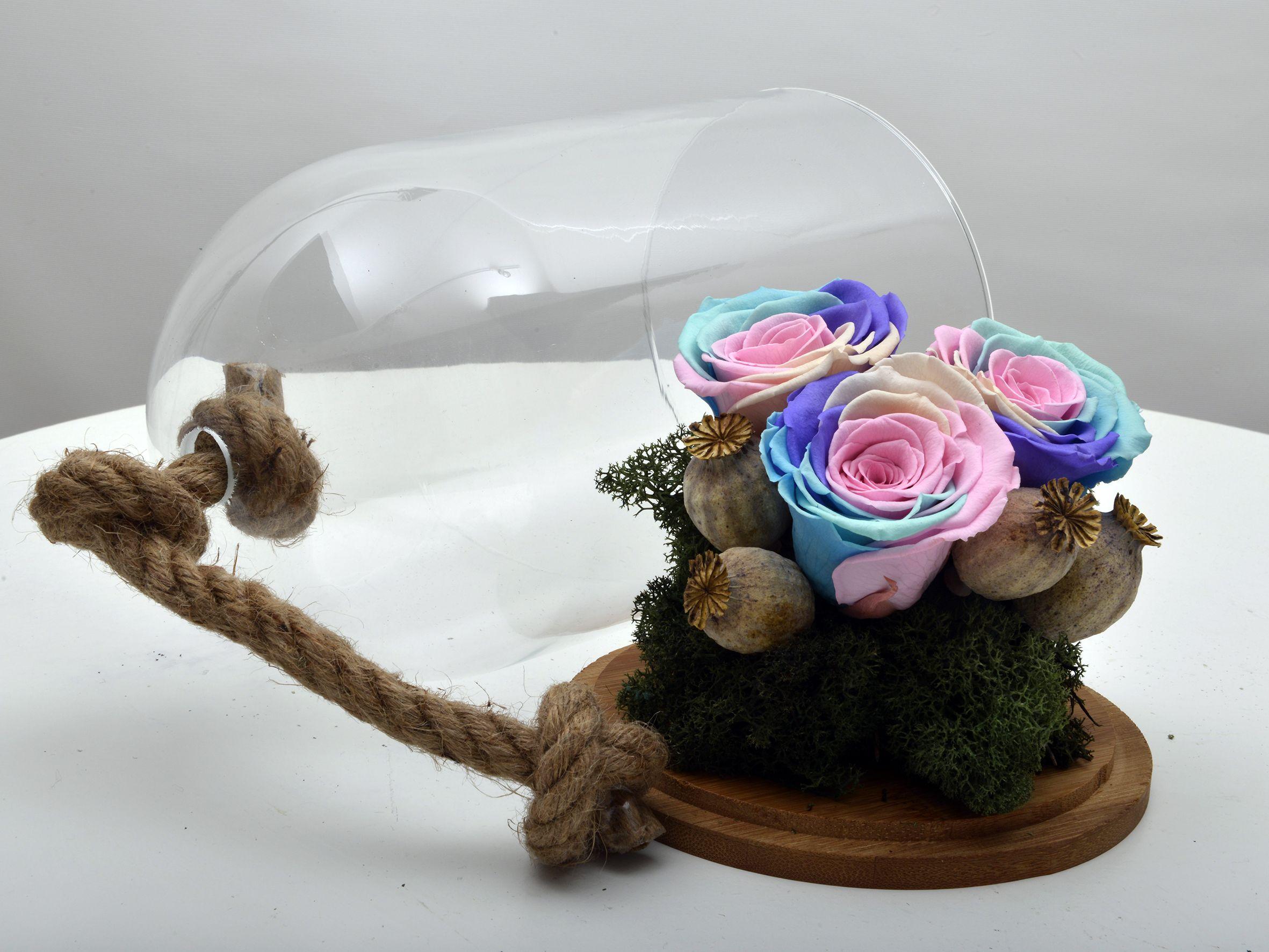 Aşkını Gökyüzüne Yazdım Solmayan Renkli Güller Aranjmanlar çiçek gönder