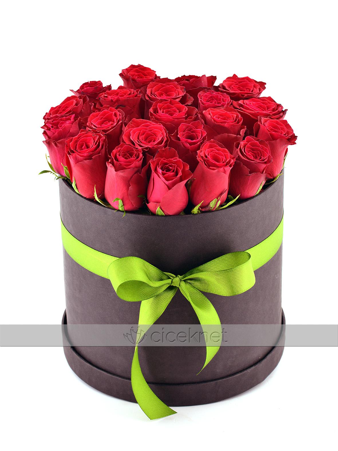 Siyah  Kutu da 21 Adet Kırmızı Gül   çiçek gönder