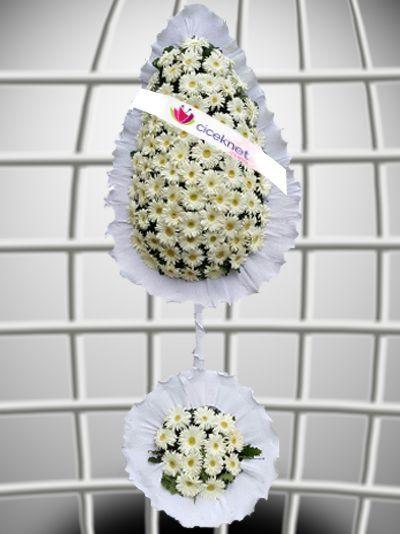 Beyaz Gerberalı Düğün ve Açılış Çiçeği. Ayaklı Sepet çiçek gönder