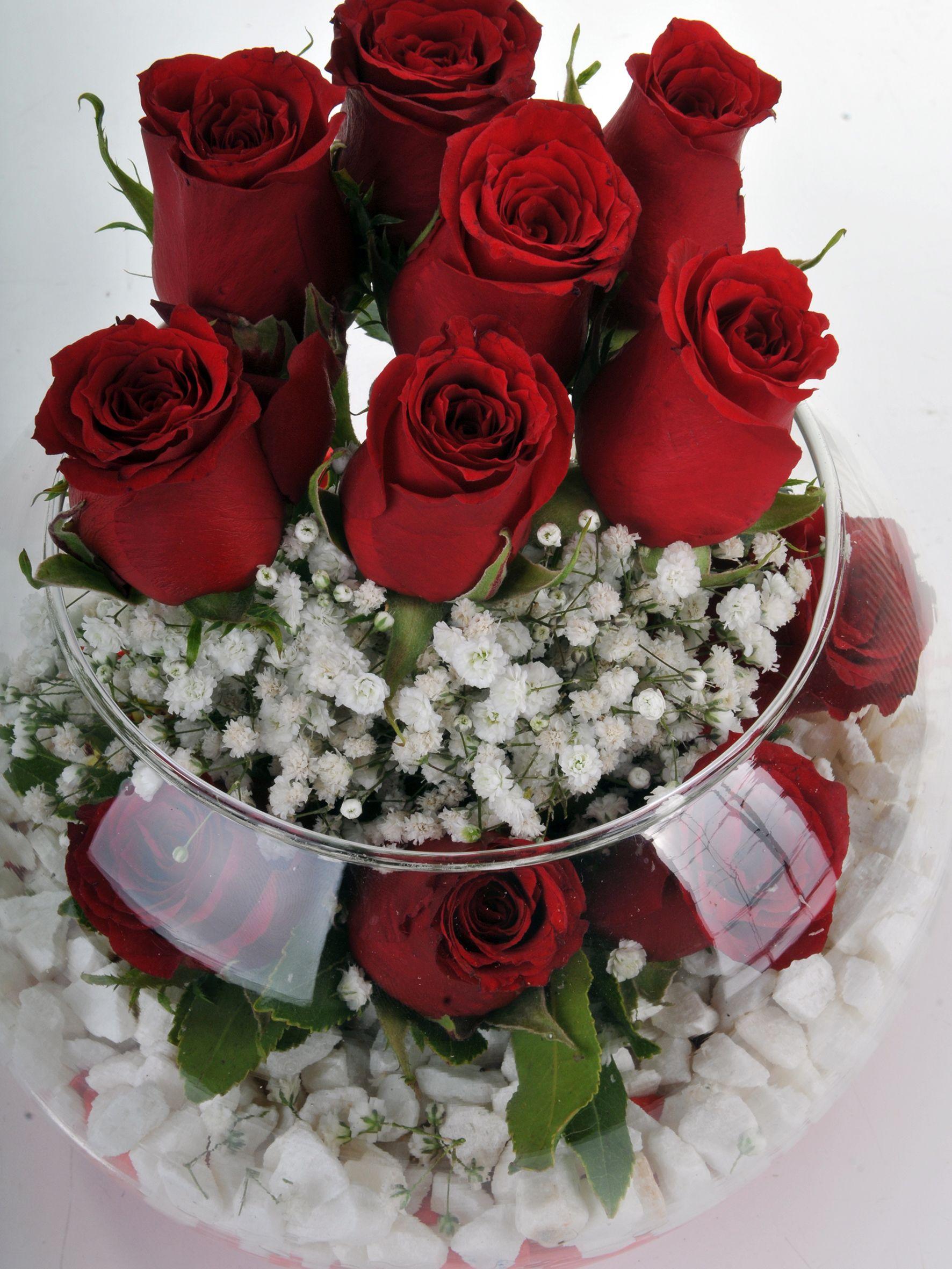 Fanus Vazoda 11 Kırmızı Gül... Aranjmanlar çiçek gönder