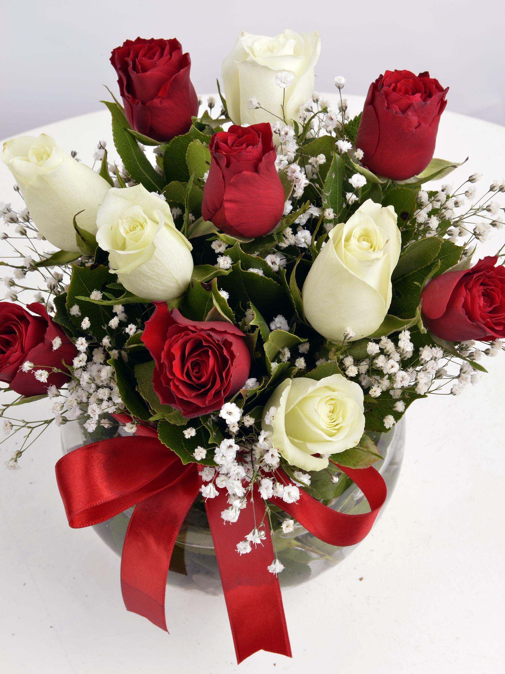 Aşk Küresi Kırmızı Beyaz Güller Aranjmanlar çiçek gönder