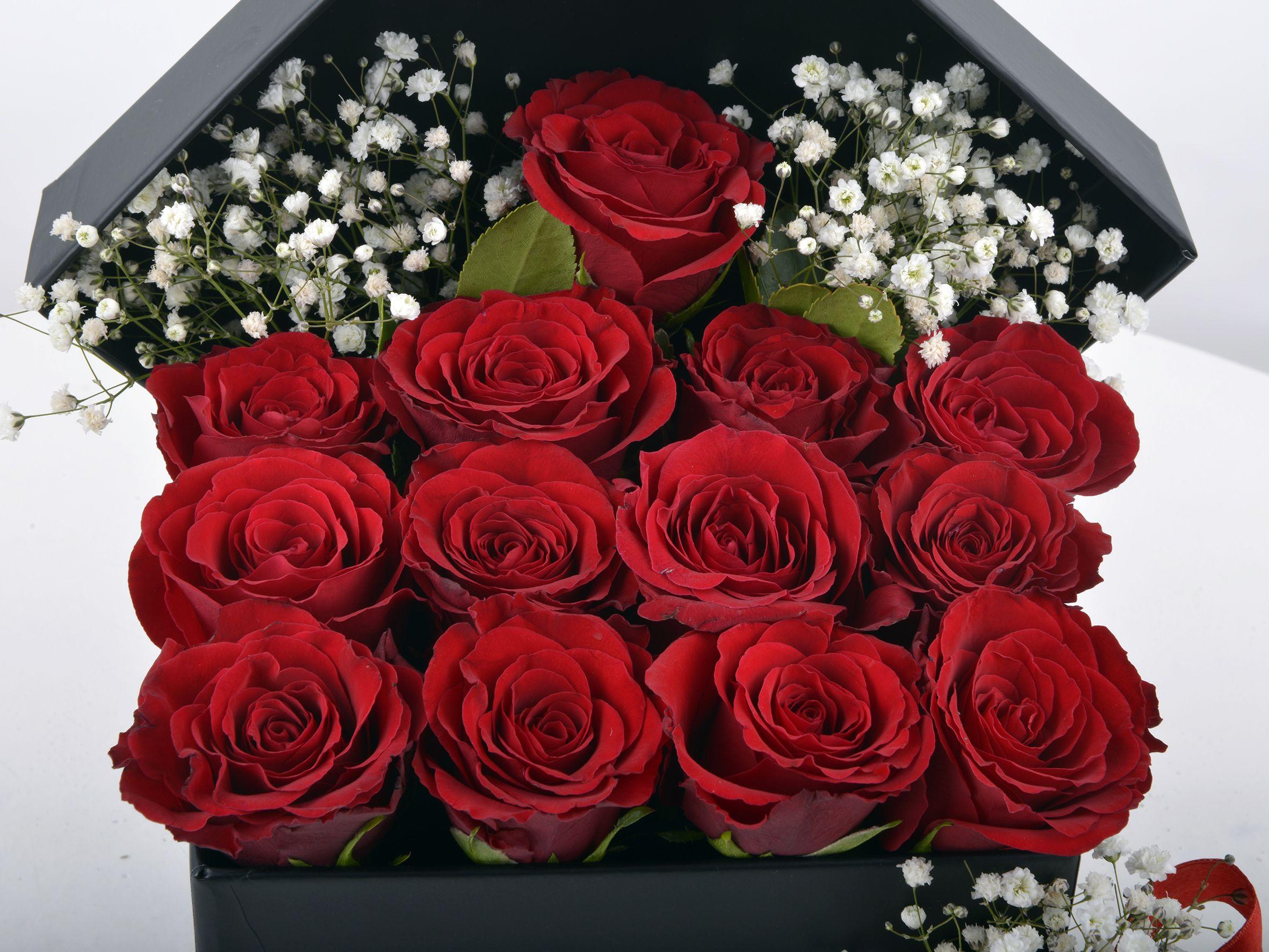 Siyah İnci 13 Kırmızı Gül Kutuda Çiçek çiçek gönder