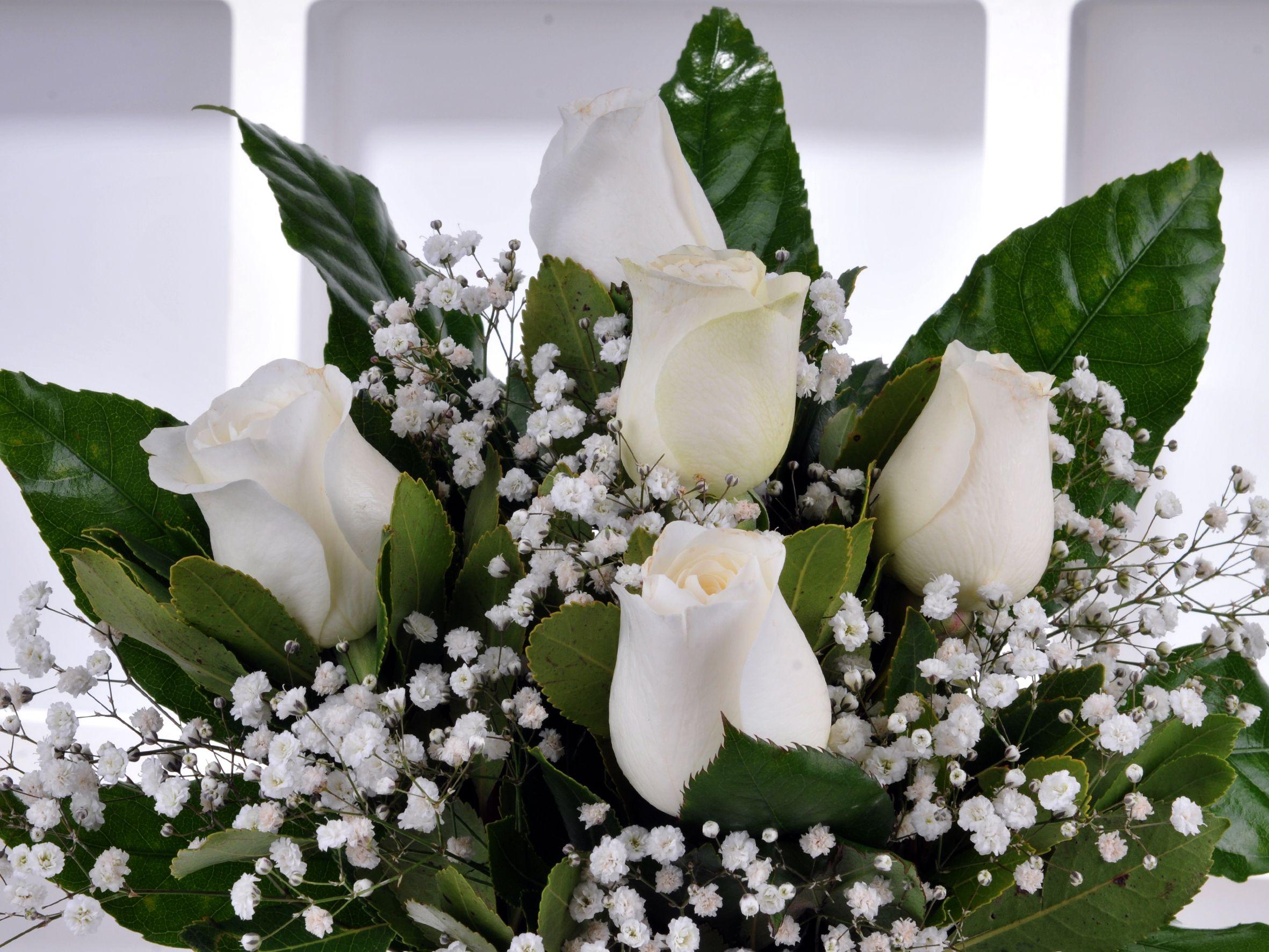 Vazoda 5 Beyaz Gül.. Aranjmanlar çiçek gönder