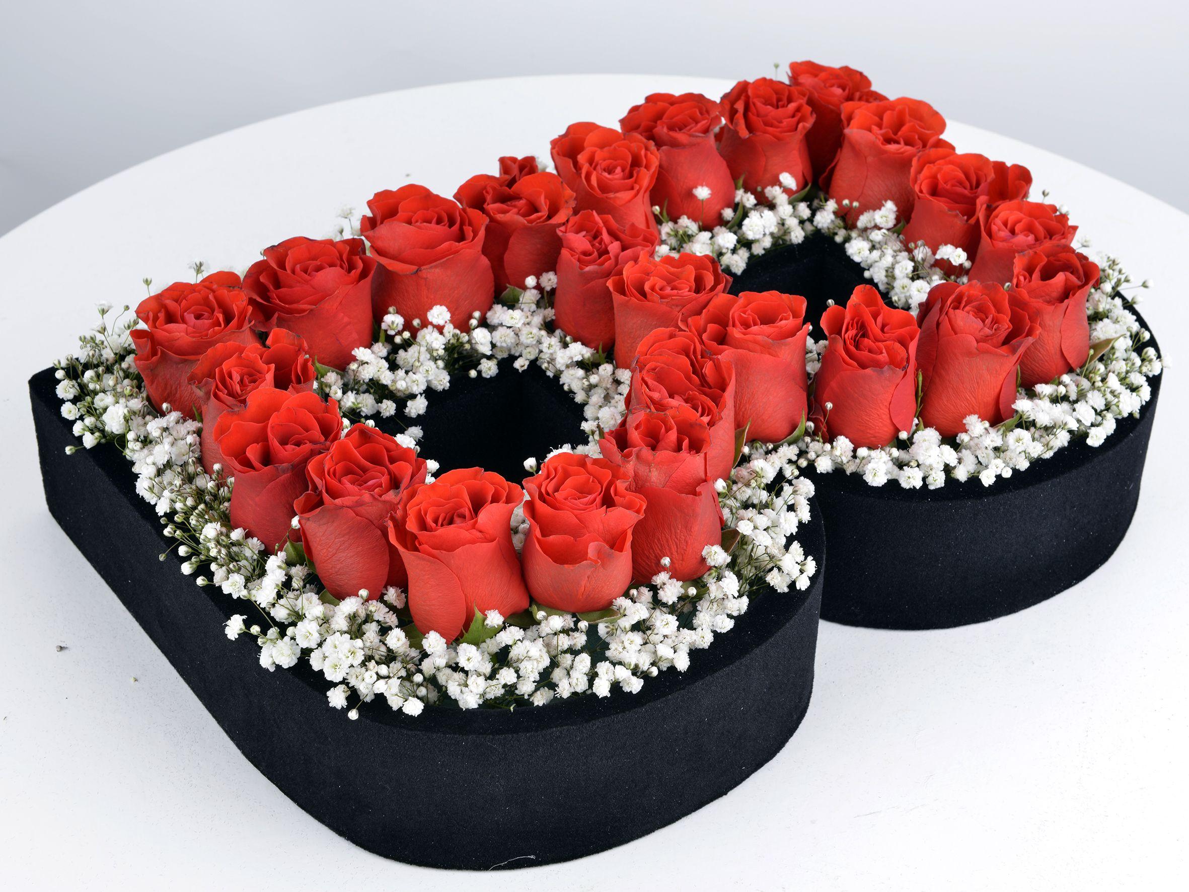 Kişiye Özel Kırmızı Güllerden Baş Harf Harfli Çiçek çiçek gönder