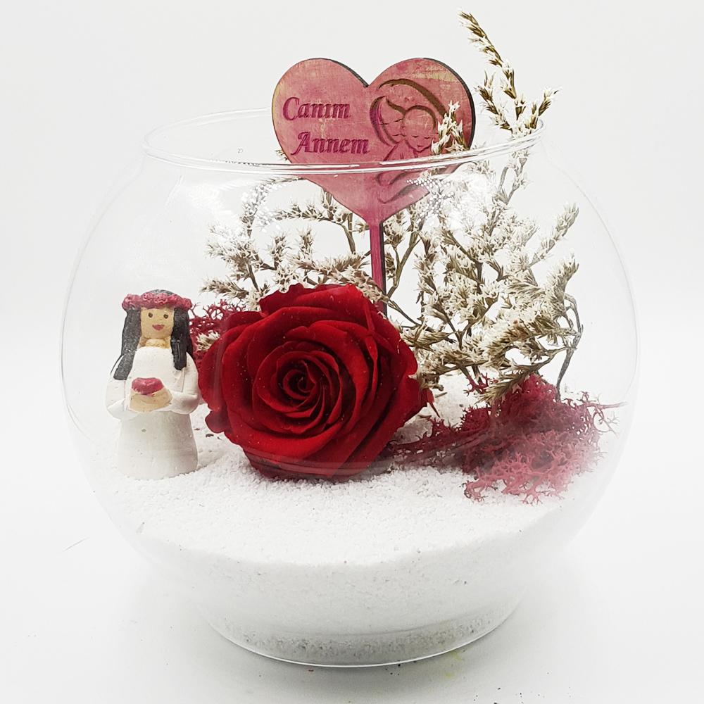 Canım Annem Solmayan Gül Terarium çiçek gönder