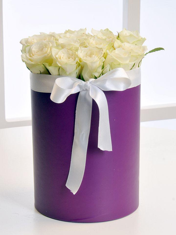 Mor Silindir Kutuda Beyaz Gül Aranjmanı Kutuda Aranjmanlar çiçek gönder