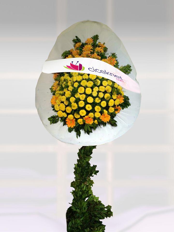 Sarı Cinyalı Açılış Sepeti.. Ayaklı Sepet çiçek gönder